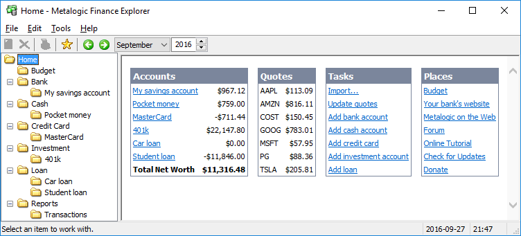 Click to view Finance Explorer screenshots